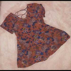 Xhilaration burnt orange floral lace up back top